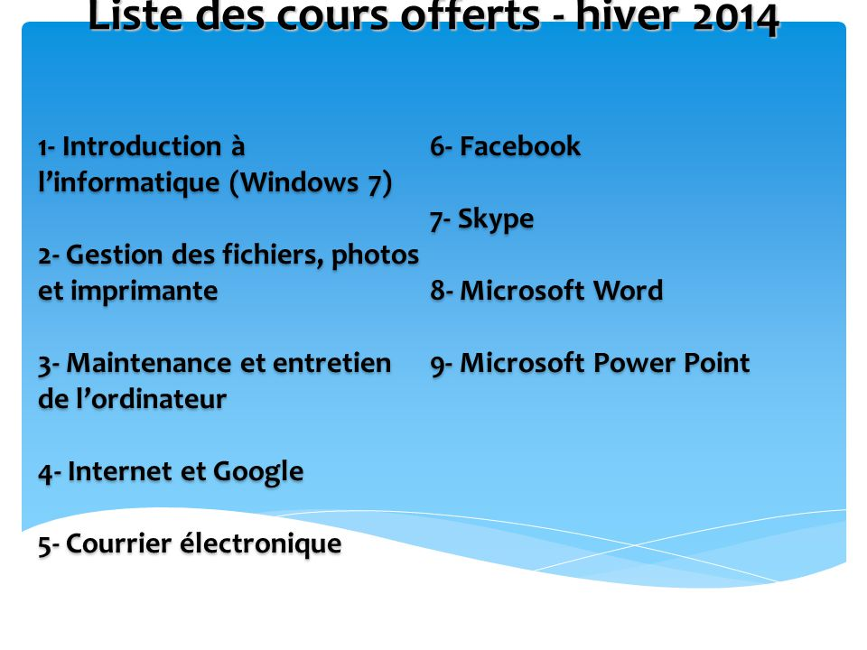 Liste des cours offerts - hiver 2014