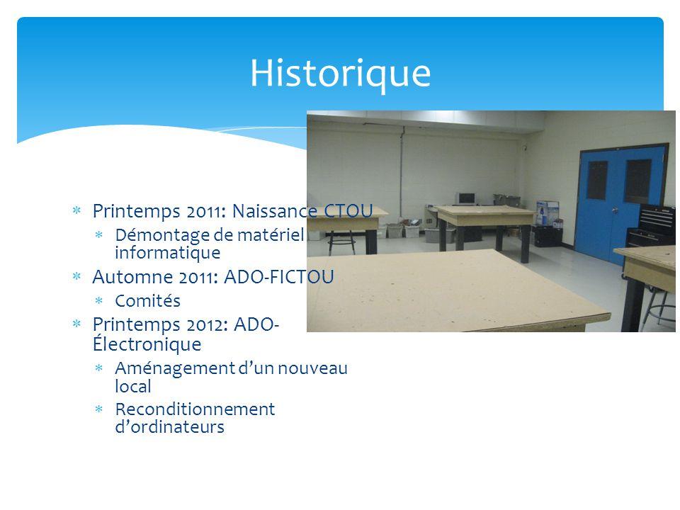 Historique Printemps 2011: Naissance CTOU Automne 2011: ADO-FICTOU