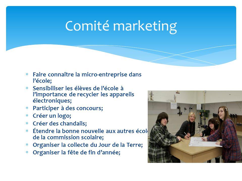 Comité marketing Faire connaître la micro-entreprise dans l'école;