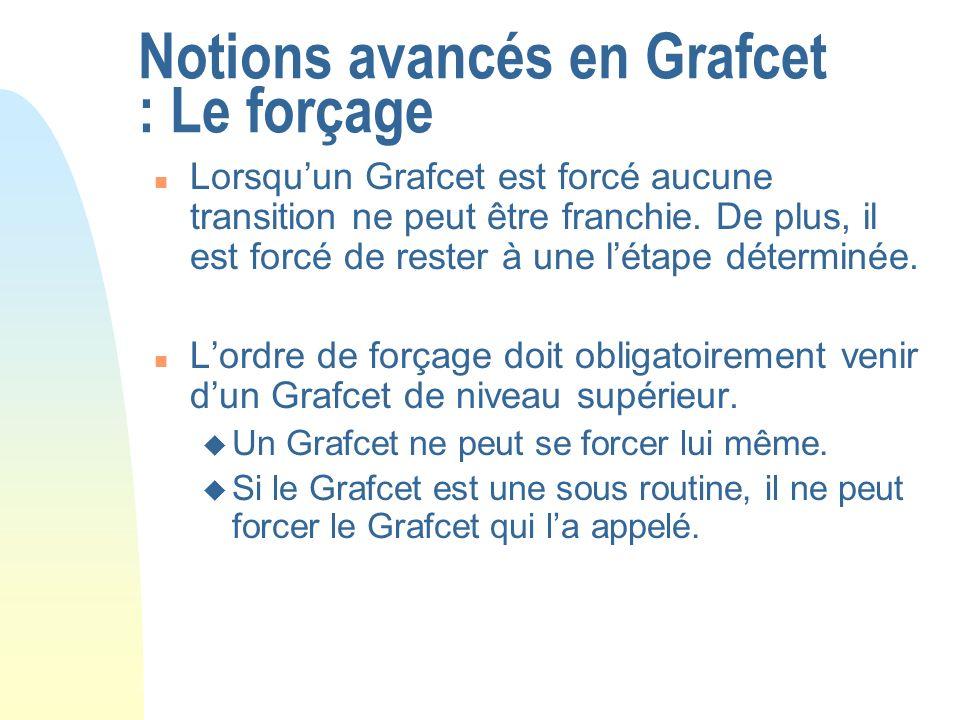 Notions avancés en Grafcet : Le forçage