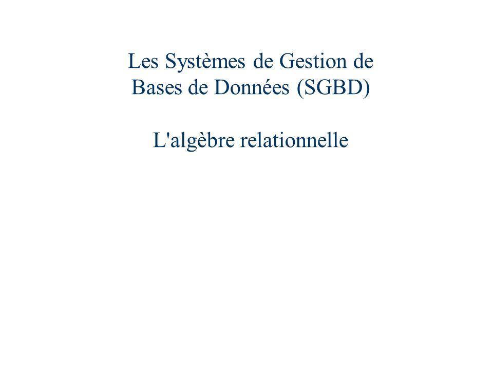 Les Systèmes de Gestion de Bases de Données (SGBD) L algèbre relationnelle