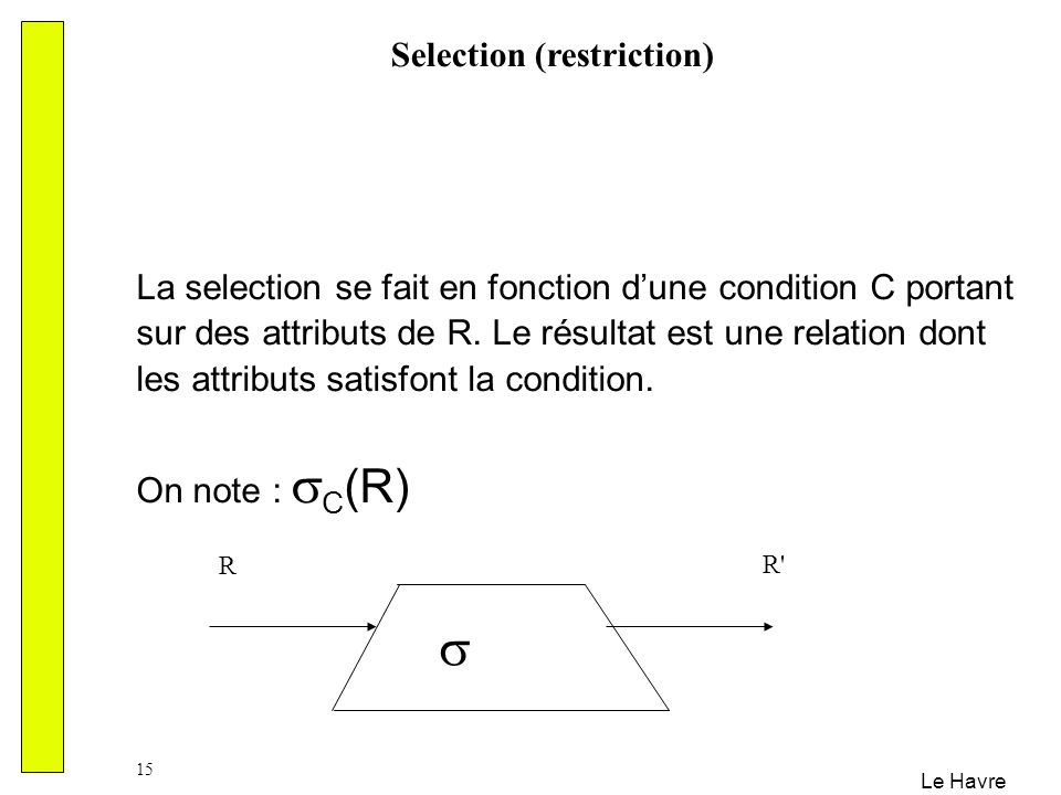 Selection (restriction)
