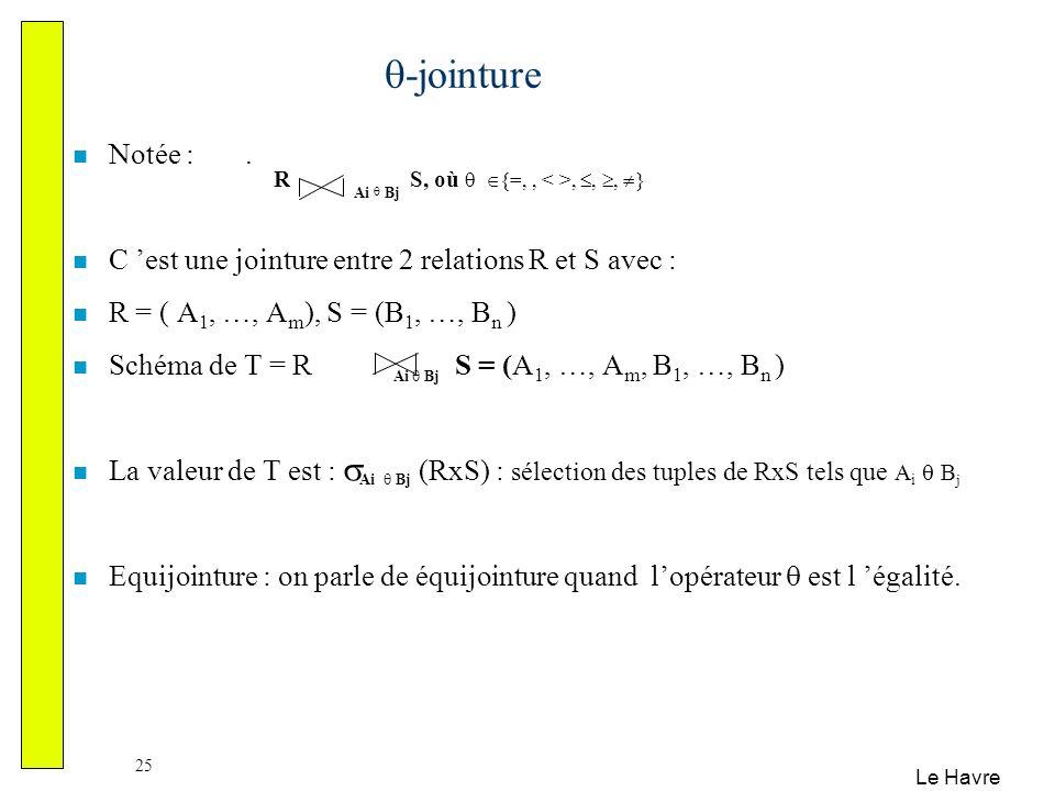 -jointure Notée : . C 'est une jointure entre 2 relations R et S avec : R = ( A1, …, Am), S = (B1, …, Bn )