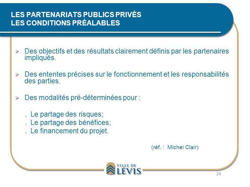LES PARTENARIATS PUBLICS PRIVÉS LES CONDITIONS PRÉALABLES