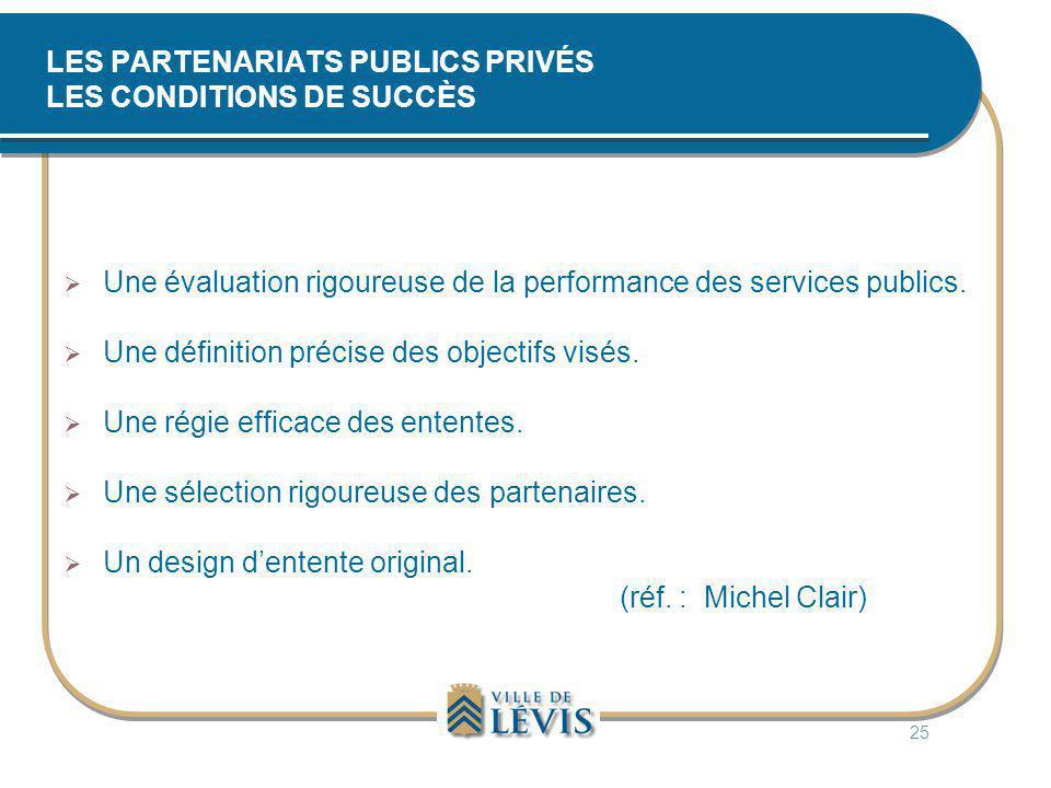 LES PARTENARIATS PUBLICS PRIVÉS LES CONDITIONS DE SUCCÈS