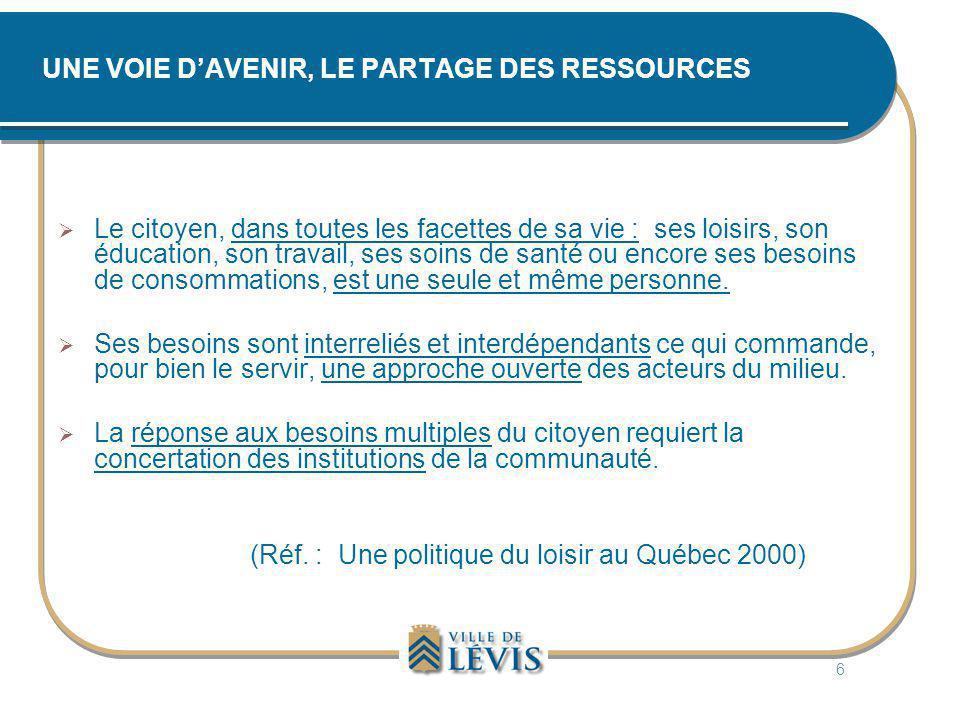 UNE VOIE D'AVENIR, LE PARTAGE DES RESSOURCES