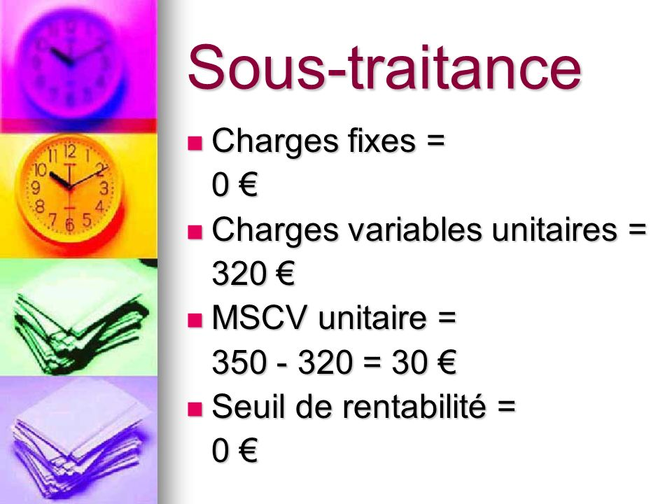 Sous-traitance Charges fixes = 0 € Charges variables unitaires = 320 €