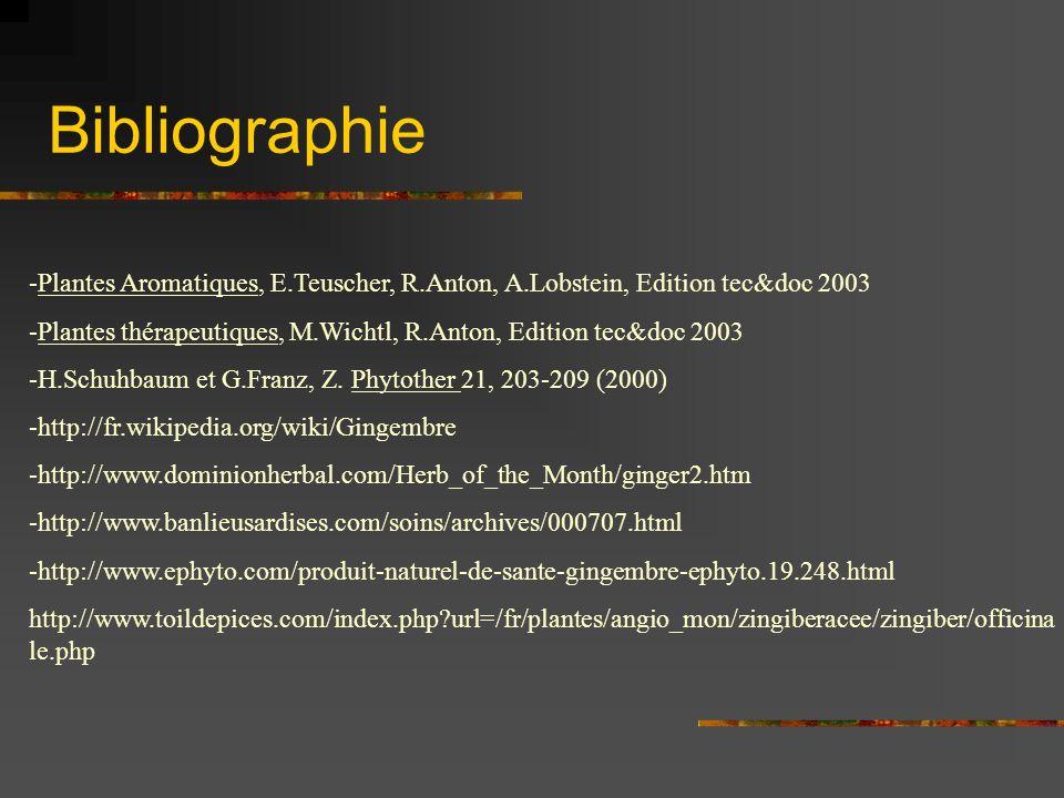 Bibliographie -Plantes Aromatiques, E.Teuscher, R.Anton, A.Lobstein, Edition tec&doc 2003.