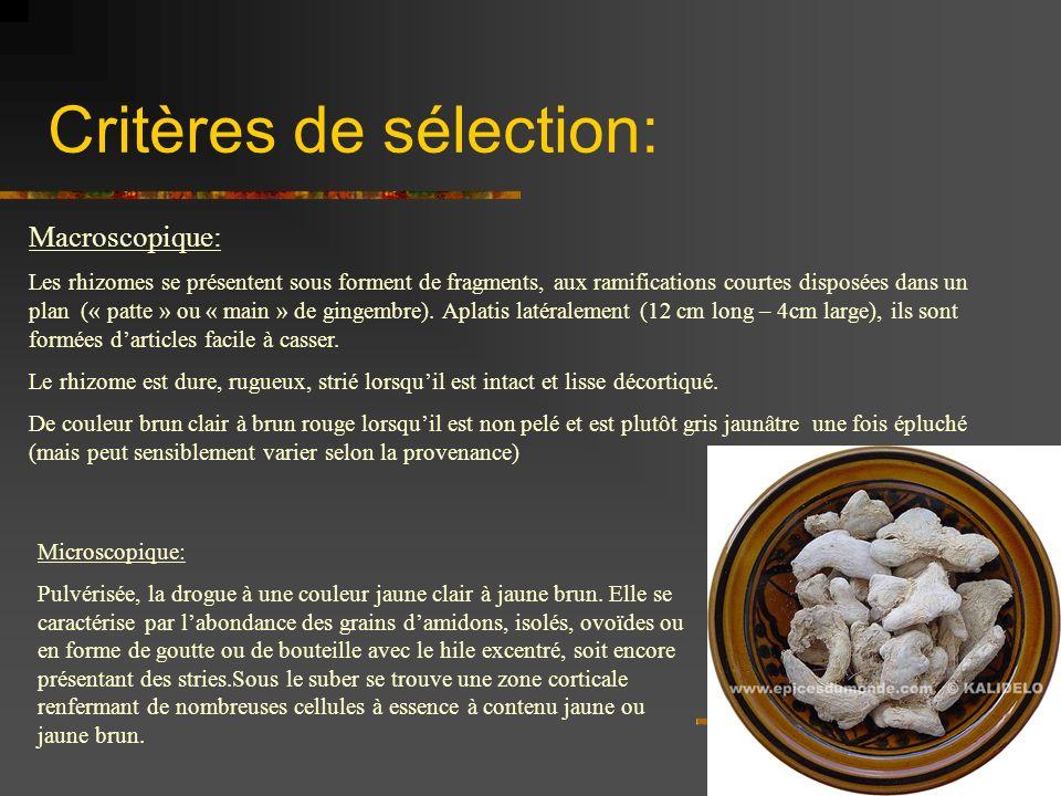 Critères de sélection: