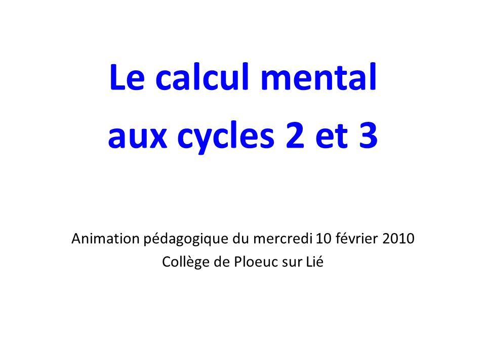 Le calcul mental aux cycles 2 et 3