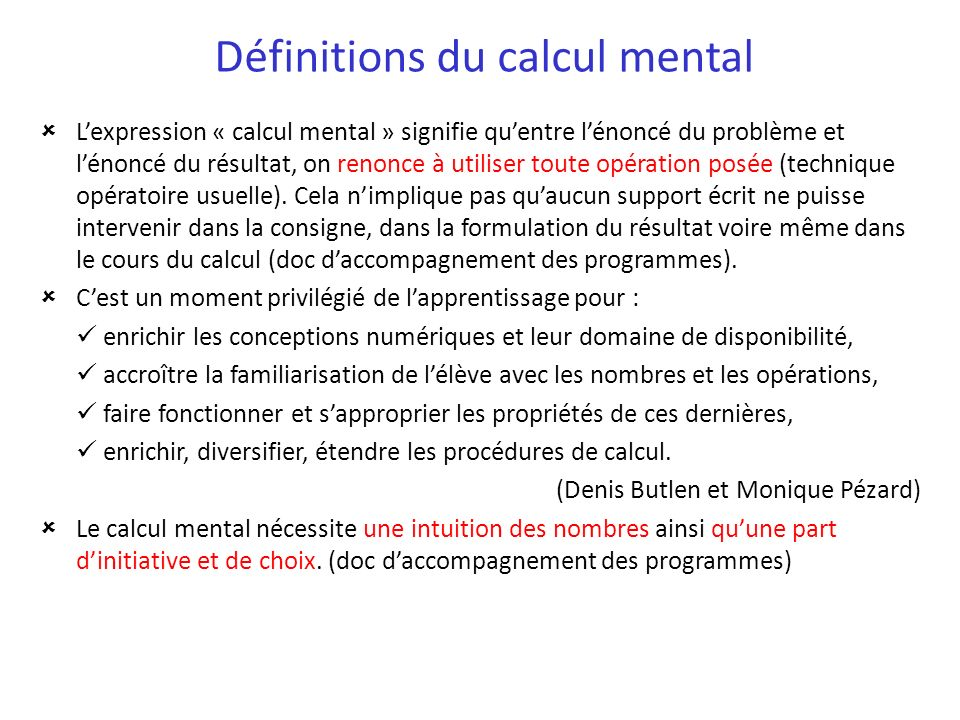 Définitions du calcul mental