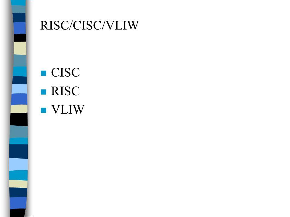 RISC/CISC/VLIW CISC RISC VLIW