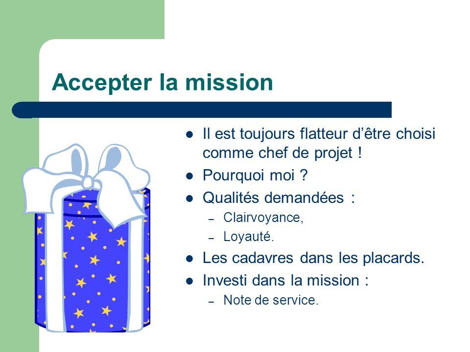 Accepter la mission Il est toujours flatteur d'être choisi comme chef de projet ! Pourquoi moi Qualités demandées :