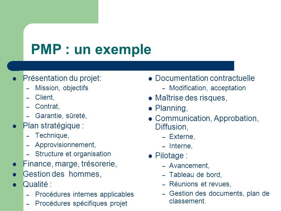 PMP : un exemple Présentation du projet: Plan stratégique :