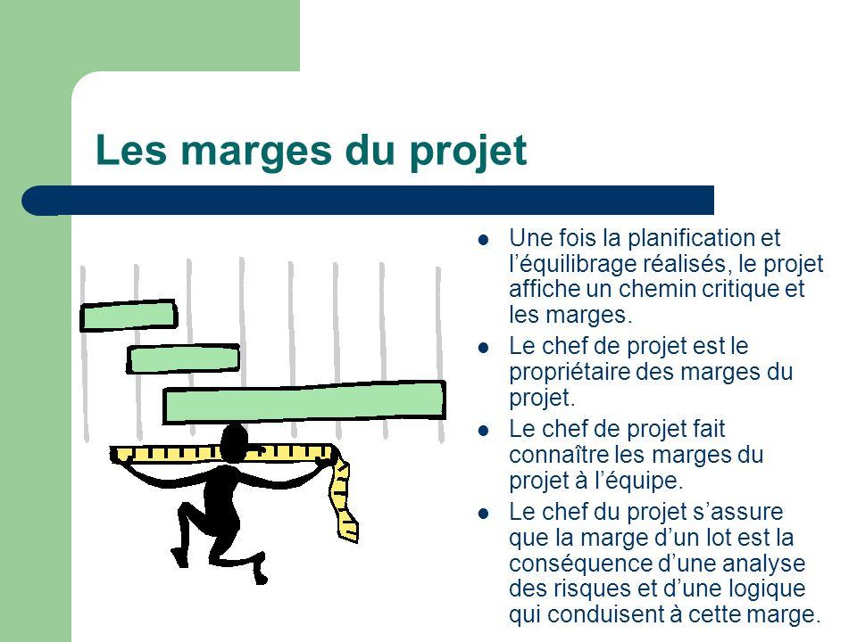 Les marges du projet Une fois la planification et l'équilibrage réalisés, le projet affiche un chemin critique et les marges.