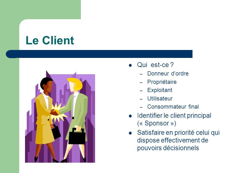 Le Client Qui est-ce Identifier le client principal (« Sponsor »)