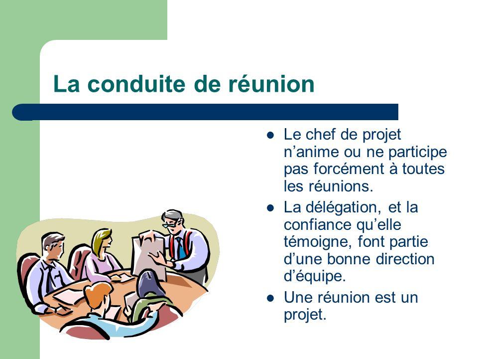 La conduite de réunion Le chef de projet n'anime ou ne participe pas forcément à toutes les réunions.