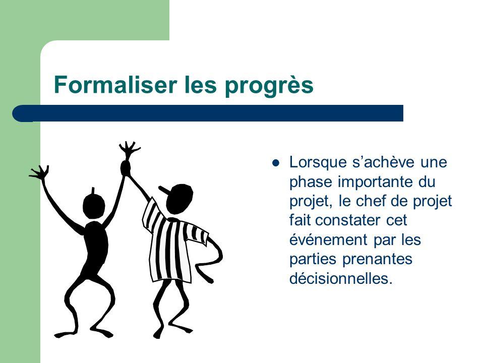 Formaliser les progrès