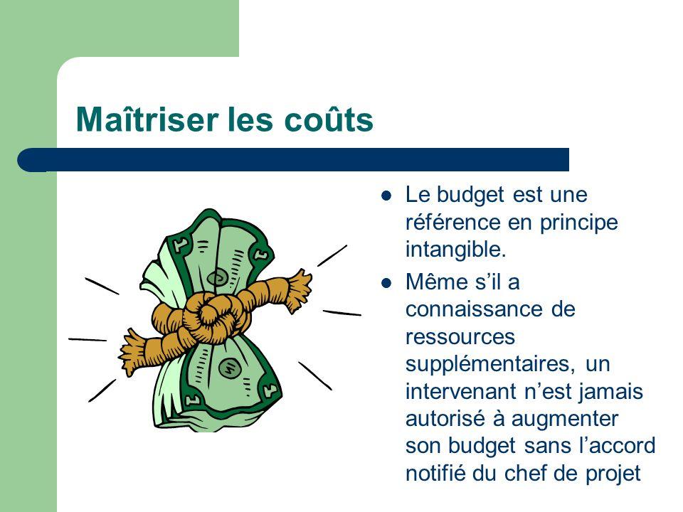 Maîtriser les coûts Le budget est une référence en principe intangible.