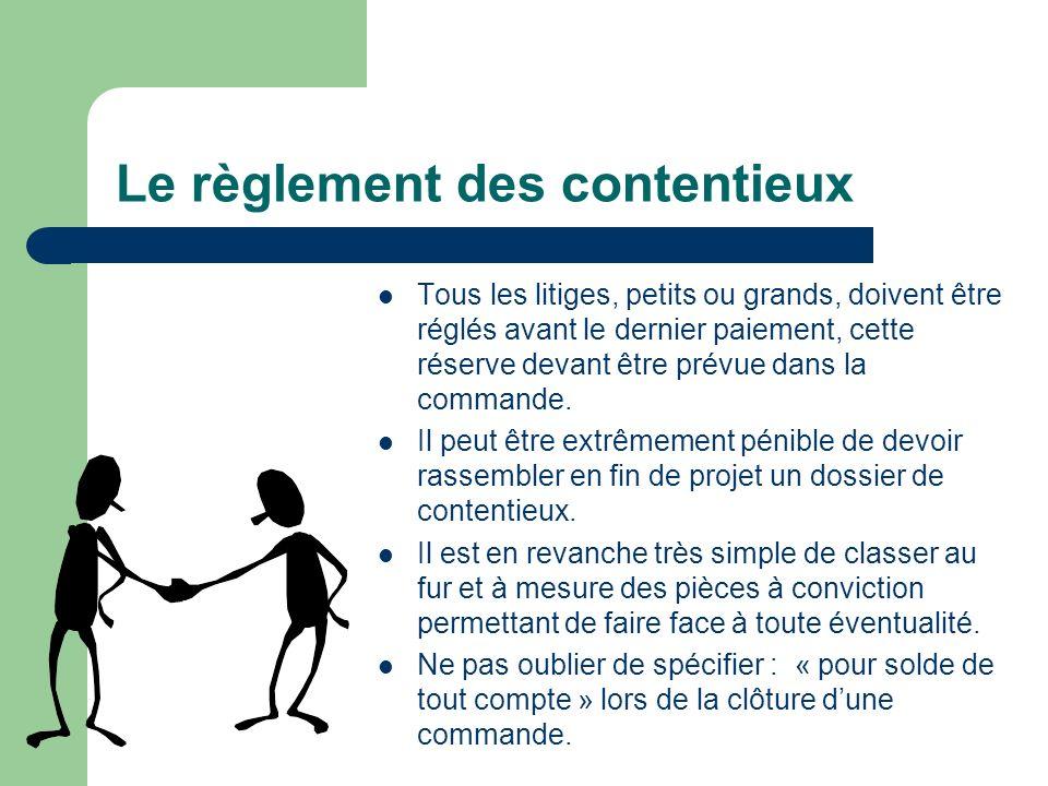 Le règlement des contentieux