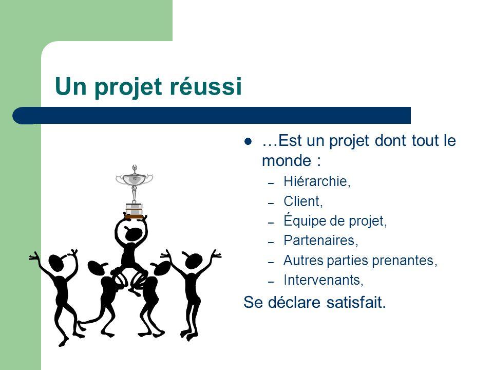 Un projet réussi …Est un projet dont tout le monde :