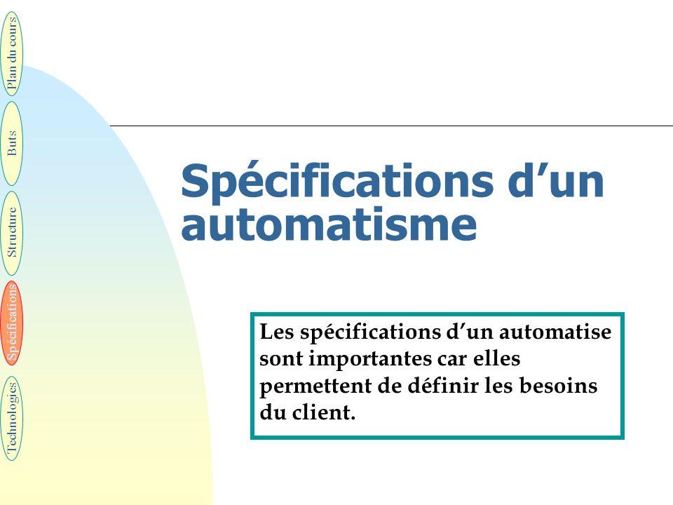 Spécifications d'un automatisme