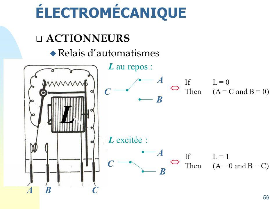 L ÉLECTROMÉCANIQUE ACTIONNEURS Relais d'automatismes L au repos : A 