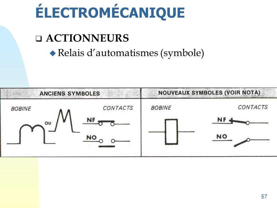 ÉLECTROMÉCANIQUE ACTIONNEURS Relais d'automatismes (symbole)