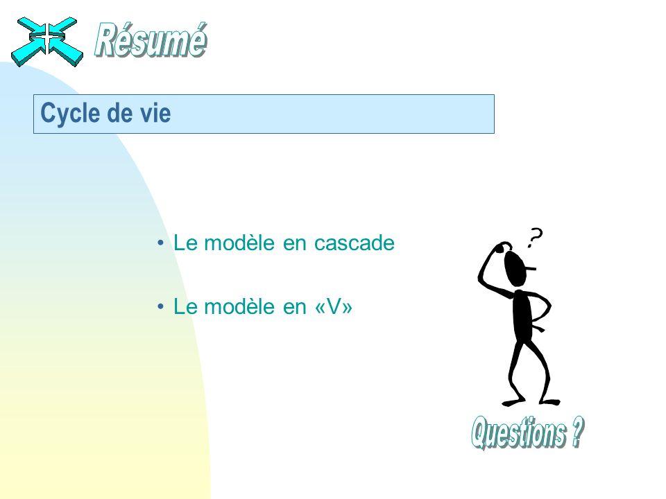 Résumé Cycle de vie Le modèle en cascade Le modèle en «V» Questions