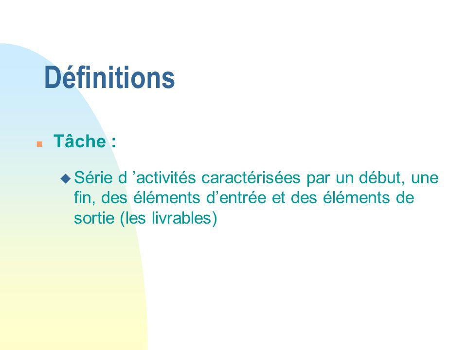 Définitions Tâche : Série d 'activités caractérisées par un début, une fin, des éléments d'entrée et des éléments de sortie (les livrables)