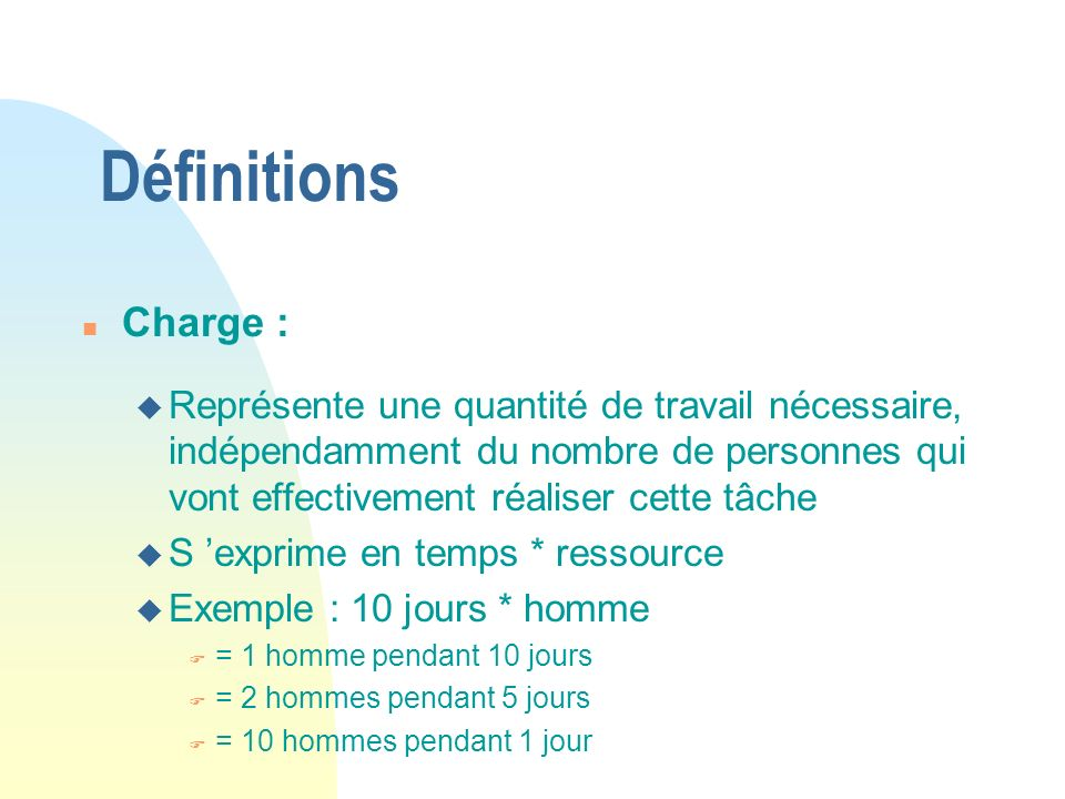 Définitions Charge :