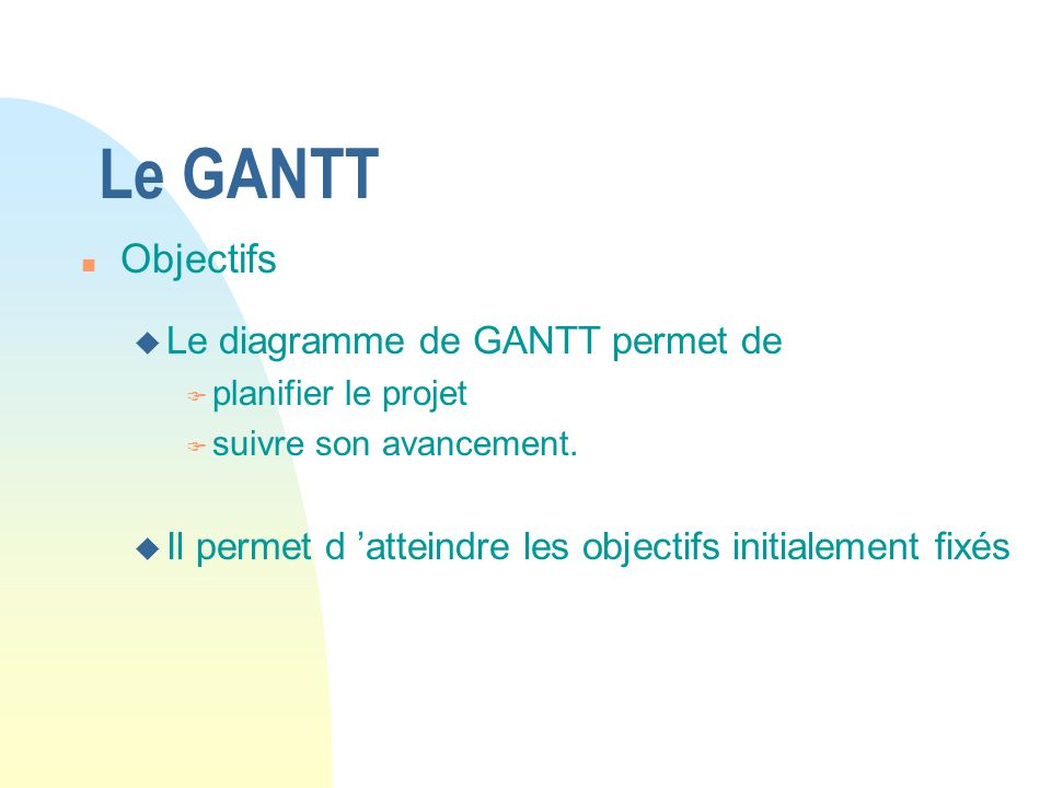 Le GANTT Objectifs Le diagramme de GANTT permet de