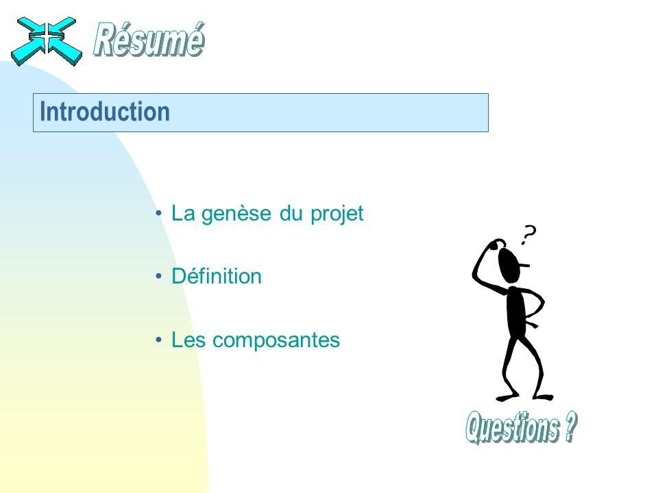 Résumé Questions Introduction La genèse du projet Définition