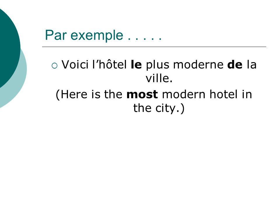Par exemple . . . . . Voici l'hôtel le plus moderne de la ville.