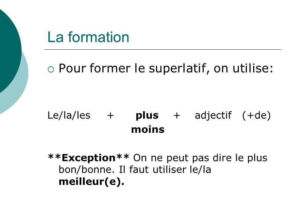 La formation Pour former le superlatif, on utilise: