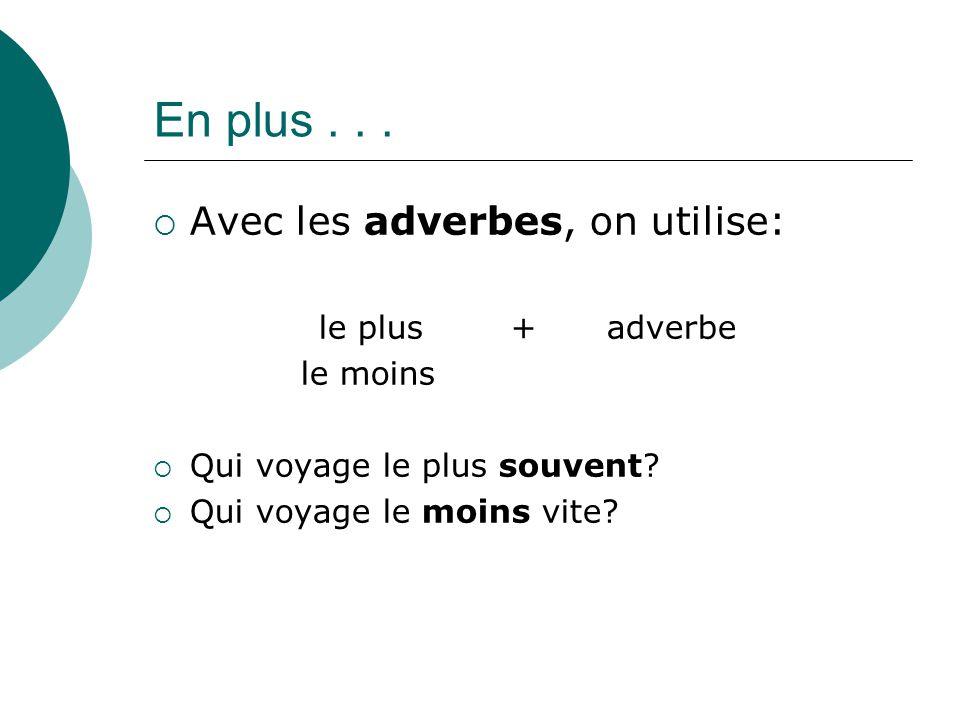 En plus . . . Avec les adverbes, on utilise: le plus + adverbe