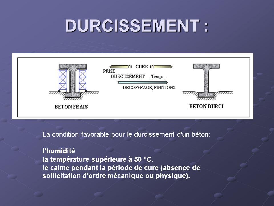 DURCISSEMENT : La condition favorable pour le durcissement d un béton:
