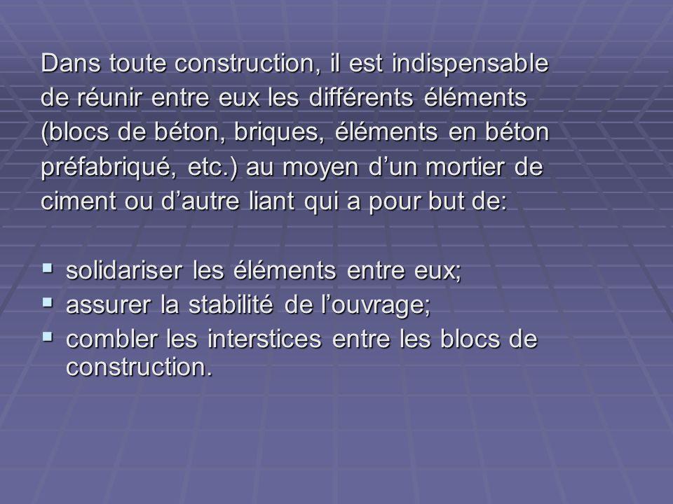 Dans toute construction, il est indispensable