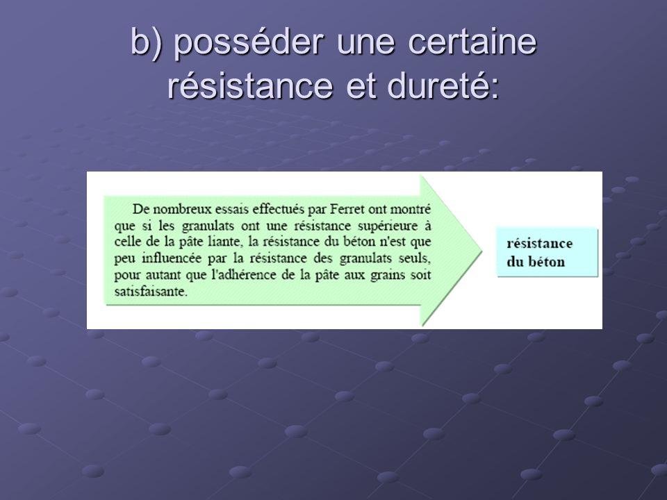 b) posséder une certaine résistance et dureté: