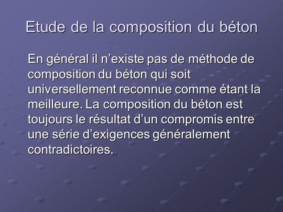 Etude de la composition du béton