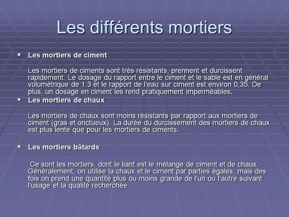 Les différents mortiers