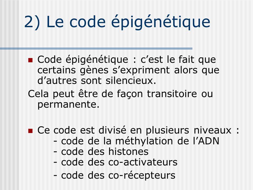 2) Le code épigénétique Code épigénétique : c'est le fait que certains gènes s'expriment alors que d'autres sont silencieux.