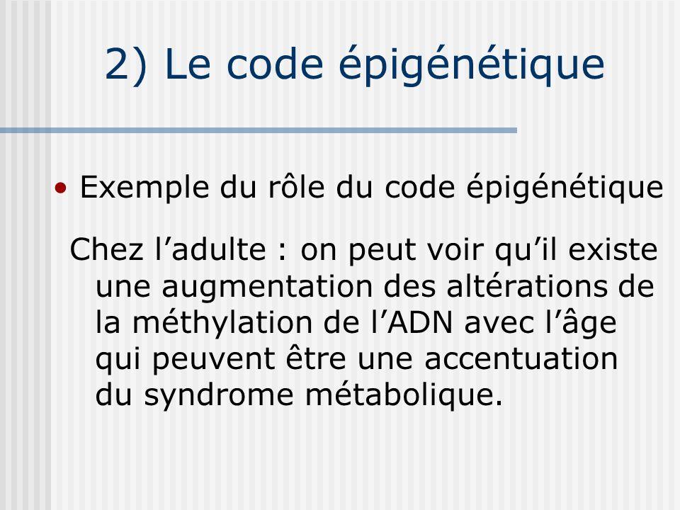 2) Le code épigénétique Exemple du rôle du code épigénétique