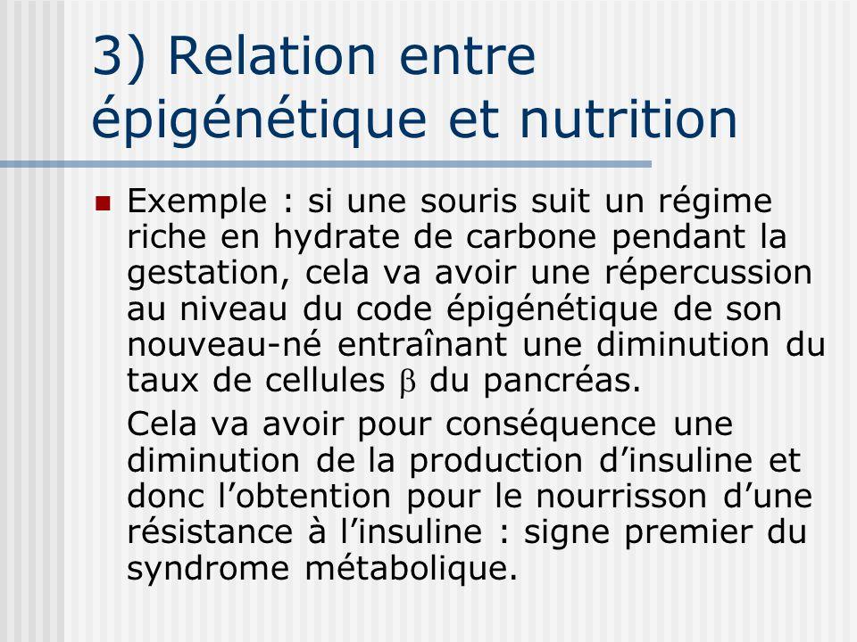 3) Relation entre épigénétique et nutrition