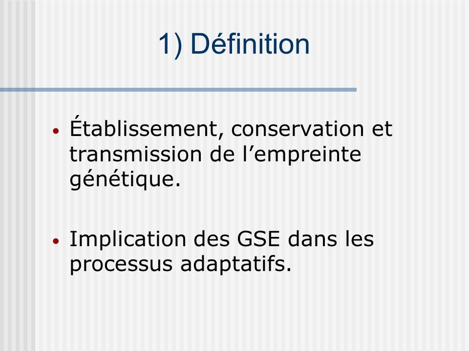 1) Définition Établissement, conservation et transmission de l'empreinte génétique.