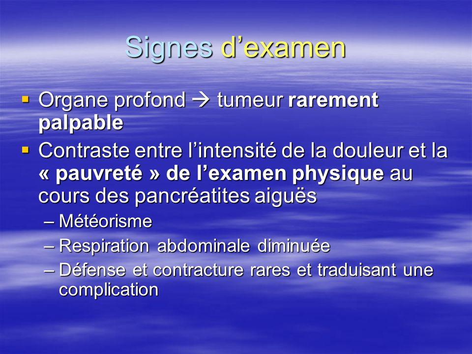 Signes d'examen Organe profond  tumeur rarement palpable