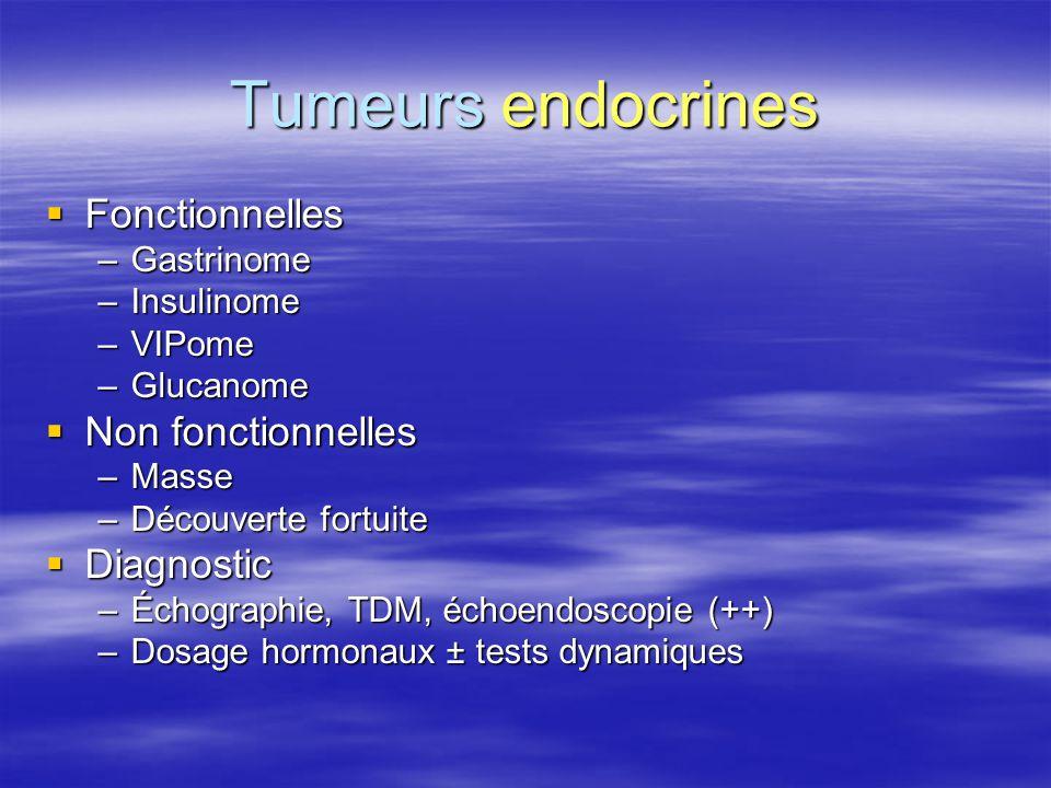 Tumeurs endocrines Fonctionnelles Non fonctionnelles Diagnostic
