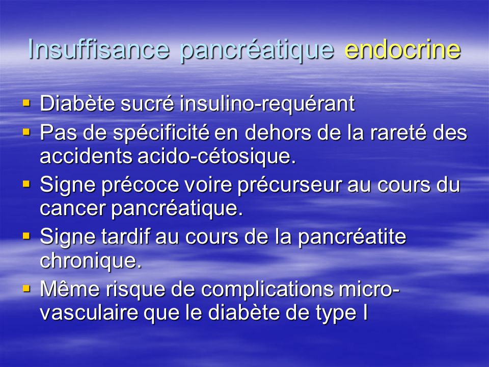 Insuffisance pancréatique endocrine