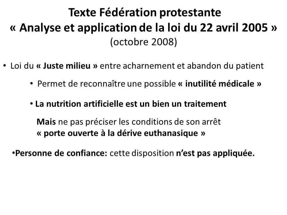 Texte Fédération protestante « Analyse et application de la loi du 22 avril 2005 » (octobre 2008)