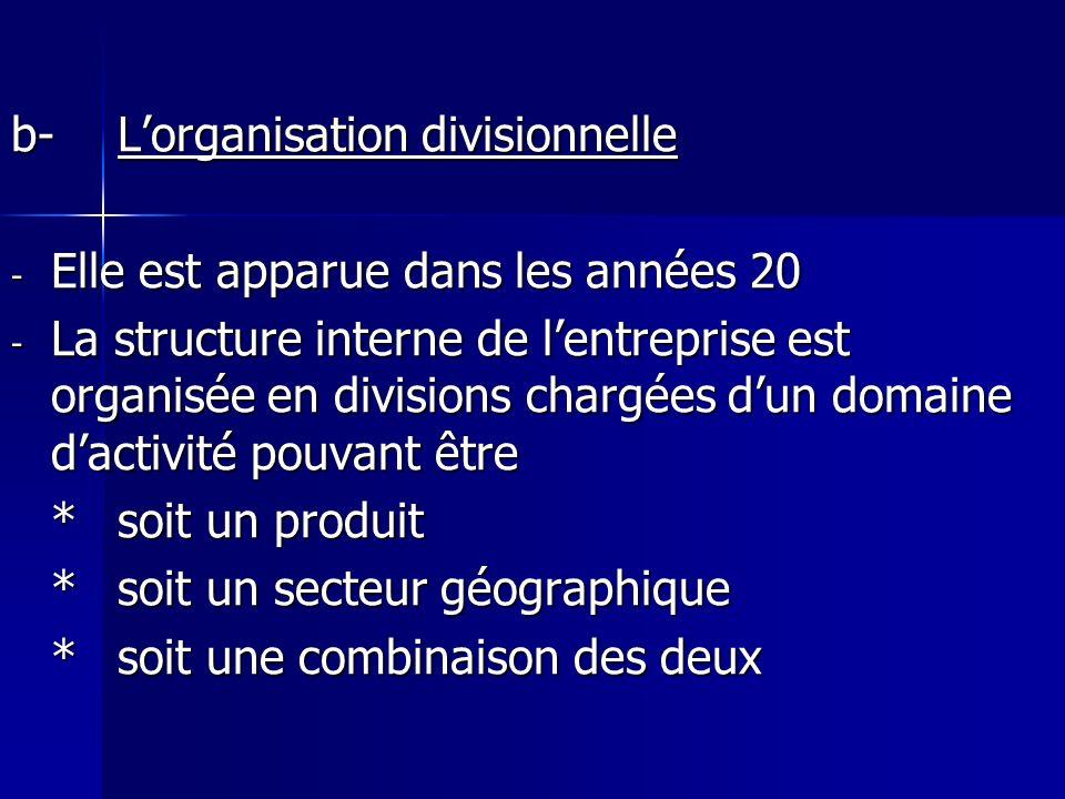 b- L'organisation divisionnelle